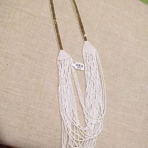 Anthropologie white bead layer necklace
